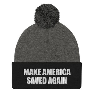 American Patriots Apparel Winter Hats Dark Heather Grey/ Black / One Size MAKE AMERICA SAVED AGAIN White Text Pom Pom Knit Cap (10 Variants)