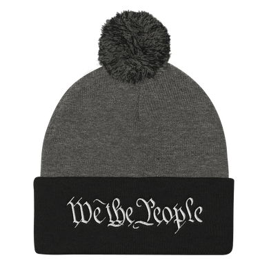 American Patriots Apparel Winter Hats Dark Heather Grey/ Black / One Size We the People Pom Pom Knit Cap (10 Variants)