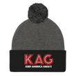 Load image into Gallery viewer, American Patriots Apparel Winter Hats Dark Heather Grey/ Black / OSFA KAG Keep America Great! Pom-Pom Beanie (10 Variants)