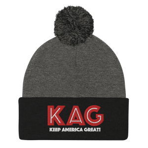 American Patriots Apparel Winter Hats Dark Heather Grey/ Black / OSFA KAG Keep America Great! Pom-Pom Beanie (10 Variants)