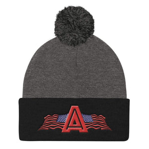 American Patriots Apparel Winter Hats Dark Heather Grey/ Black Pom Pom Knit Cap With American Patriots Apparel Logo