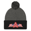 Load image into Gallery viewer, American Patriots Apparel Winter Hats Dark Heather Grey/ Black Pom Pom Knit Cap With APA Logo