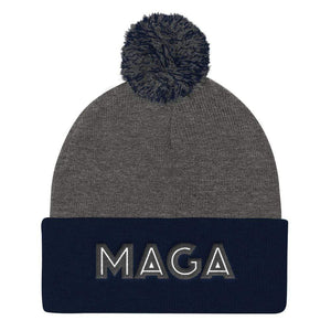 American Patriots Apparel Winter Hats Dark Heather Grey/ Navy MAGA Pom Pom Knit Cap (Flat Embroidery)