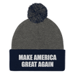 Load image into Gallery viewer, American Patriots Apparel Winter Hats Dark Heather Grey/ Navy / One Size MAKE AMERICA GREAT AGAIN White Text Pom Pom Knit Cap (10 Variants)