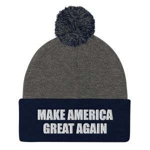 American Patriots Apparel Winter Hats Dark Heather Grey/ Navy / One Size MAKE AMERICA GREAT AGAIN White Text Pom Pom Knit Cap (10 Variants)