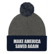 Load image into Gallery viewer, American Patriots Apparel Winter Hats Dark Heather Grey/ Navy / One Size MAKE AMERICA SAVED AGAIN White Text Pom Pom Knit Cap (10 Variants)