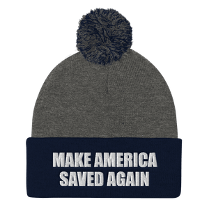 American Patriots Apparel Winter Hats Dark Heather Grey/ Navy / One Size MAKE AMERICA SAVED AGAIN White Text Pom Pom Knit Cap (10 Variants)