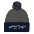 Load image into Gallery viewer, American Patriots Apparel Winter Hats Dark Heather Grey/ Navy / One Size We the People Pom Pom Knit Cap (10 Variants)