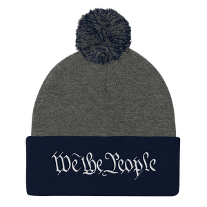 American Patriots Apparel Winter Hats Dark Heather Grey/ Navy / One Size We the People Pom Pom Knit Cap (10 Variants)