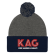 Load image into Gallery viewer, American Patriots Apparel Winter Hats Dark Heather Grey/ Navy / OSFA KAG Keep America Great! Pom-Pom Beanie (10 Variants)