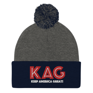 American Patriots Apparel Winter Hats Dark Heather Grey/ Navy / OSFA KAG Keep America Great! Pom-Pom Beanie (10 Variants)