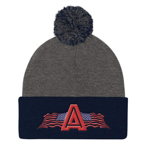 American Patriots Apparel Winter Hats Dark Heather Grey/ Navy Pom Pom Knit Cap With American Patriots Apparel Logo