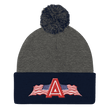 Load image into Gallery viewer, American Patriots Apparel Winter Hats Dark Heather Grey/ Navy Pom Pom Knit Cap With APA Logo