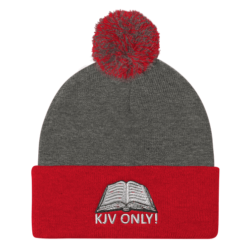 American Patriots Apparel Winter Hats Dark Heather Grey/ Red / One Size KJV ONLY! White Text Pom Pom Knit Cap (10 Variants)