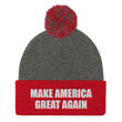 Load image into Gallery viewer, American Patriots Apparel Winter Hats Dark Heather Grey/ Red / One Size MAKE AMERICA GREAT AGAIN White Text Pom Pom Knit Cap (10 Variants)