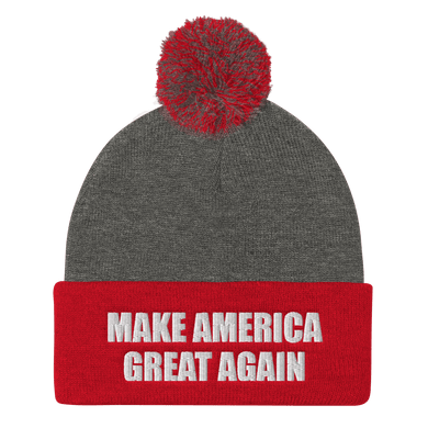 American Patriots Apparel Winter Hats Dark Heather Grey/ Red / One Size MAKE AMERICA GREAT AGAIN White Text Pom Pom Knit Cap (10 Variants)
