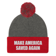 Load image into Gallery viewer, American Patriots Apparel Winter Hats Dark Heather Grey/ Red / One Size MAKE AMERICA SAVED AGAIN White Text Pom Pom Knit Cap (10 Variants)