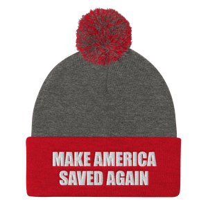 American Patriots Apparel Winter Hats Dark Heather Grey/ Red / One Size MAKE AMERICA SAVED AGAIN White Text Pom Pom Knit Cap (10 Variants)