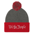 Load image into Gallery viewer, American Patriots Apparel Winter Hats Dark Heather Grey/ Red / One Size We the People Pom Pom Knit Cap (10 Variants)