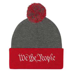 American Patriots Apparel Winter Hats Dark Heather Grey/ Red / One Size We the People Pom Pom Knit Cap (10 Variants)