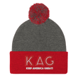 Load image into Gallery viewer, American Patriots Apparel Winter Hats Dark Heather Grey/ Red / OSFA KAG Keep America Great! Pom-Pom Beanie (10 Variants)