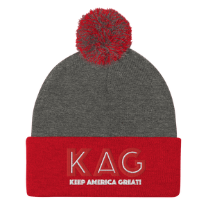 American Patriots Apparel Winter Hats Dark Heather Grey/ Red / OSFA KAG Keep America Great! Pom-Pom Beanie (10 Variants)