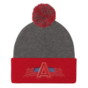 American Patriots Apparel Winter Hats Dark Heather Grey/ Red Pom Pom Knit Cap With American Patriots Apparel Logo