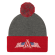 Load image into Gallery viewer, American Patriots Apparel Winter Hats Dark Heather Grey/ Red Pom Pom Knit Cap With APA Logo