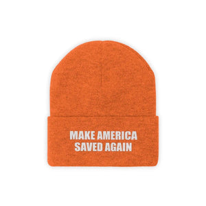 Printify Winter Hats Deep Orange / One size MAKE AMERICA SAVED AGAIN White Text Acrylic Knit Beanie (11 Variants)
