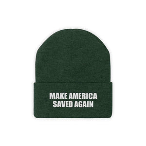 Printify Winter Hats Forest Green / One size MAKE AMERICA SAVED AGAIN White Text Acrylic Knit Beanie (11 Variants)