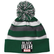 Load image into Gallery viewer, CustomCat Winter Hats Forest/White / One Size Black Lives MAGA Striped Beanie with Pom (8 Variants)