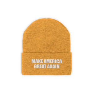 Printify Winter Hats Gold / One size MAKE AMERICA GREAT AGAIN White Text Acrylic Knit Beanie (11 Variants)
