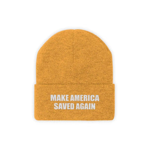 Printify Winter Hats Gold / One size MAKE AMERICA SAVED AGAIN White Text Acrylic Knit Beanie (11 Variants)