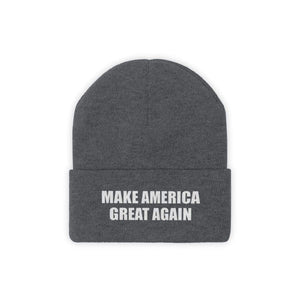 Printify Winter Hats Graphite Heather / One size MAKE AMERICA GREAT AGAIN White Text Acrylic Knit Beanie (11 Variants)