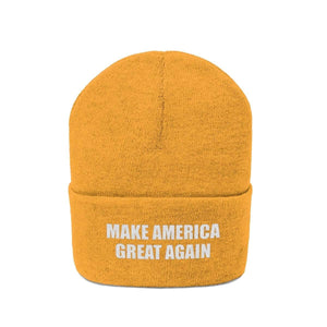 Printify Winter Hats MAKE AMERICA GREAT AGAIN White Text Acrylic Knit Beanie (11 Variants)