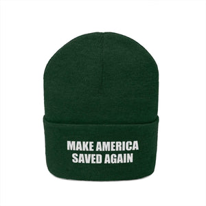 Printify Winter Hats MAKE AMERICA SAVED AGAIN White Text Acrylic Knit Beanie (11 Variants)