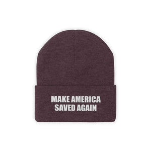 Printify Winter Hats Maroon / One size MAKE AMERICA SAVED AGAIN White Text Acrylic Knit Beanie (11 Variants)