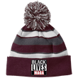Load image into Gallery viewer, CustomCat Winter Hats Maroon/White / One Size Black Lives MAGA Striped Beanie with Pom (8 Variants)