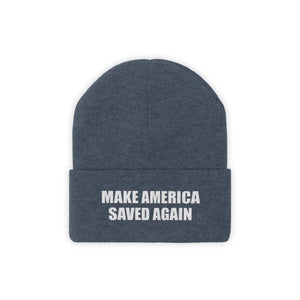Printify Winter Hats Millennium Blue / One size MAKE AMERICA SAVED AGAIN White Text Acrylic Knit Beanie (11 Variants)