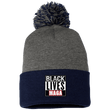 Load image into Gallery viewer, CustomCat Winter Hats Navy/Dark Heather / One Size Black Lives MAGA SP15 Pom Pom Knit Cap (12 Variants)