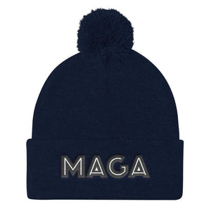American Patriots Apparel Winter Hats Navy MAGA Pom Pom Knit Cap (Flat Embroidery)