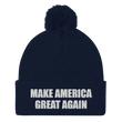 Load image into Gallery viewer, American Patriots Apparel Winter Hats Navy / One Size MAKE AMERICA GREAT AGAIN White Text Pom Pom Knit Cap (10 Variants)