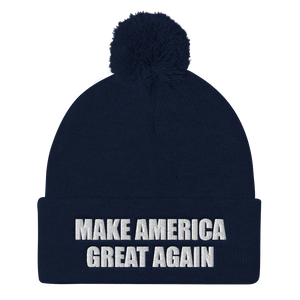 American Patriots Apparel Winter Hats Navy / One Size MAKE AMERICA GREAT AGAIN White Text Pom Pom Knit Cap (10 Variants)
