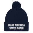 Load image into Gallery viewer, American Patriots Apparel Winter Hats Navy / One Size MAKE AMERICA SAVED AGAIN White Text Pom Pom Knit Cap (10 Variants)