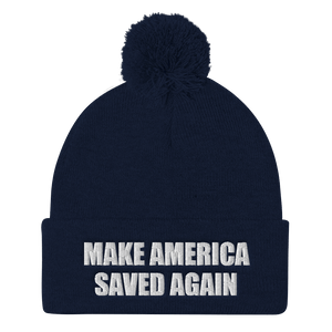 American Patriots Apparel Winter Hats Navy / One Size MAKE AMERICA SAVED AGAIN White Text Pom Pom Knit Cap (10 Variants)