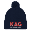 Load image into Gallery viewer, American Patriots Apparel Winter Hats Navy / OSFA KAG Keep America Great! Pom-Pom Beanie (10 Variants)