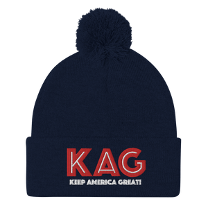 American Patriots Apparel Winter Hats Navy / OSFA KAG Keep America Great! Pom-Pom Beanie (10 Variants)
