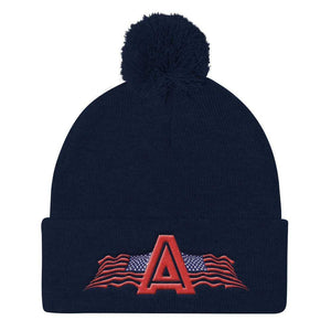American Patriots Apparel Winter Hats Navy Pom Pom Knit Cap With American Patriots Apparel Logo