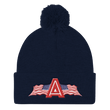 Load image into Gallery viewer, American Patriots Apparel Winter Hats Navy Pom Pom Knit Cap With APA Logo