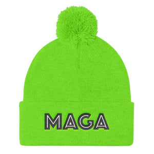 American Patriots Apparel Winter Hats Neon Green MAGA Pom Pom Knit Cap (Flat Embroidery)